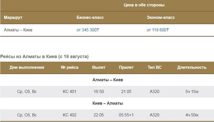 Эйр Астана Алматы - Киев