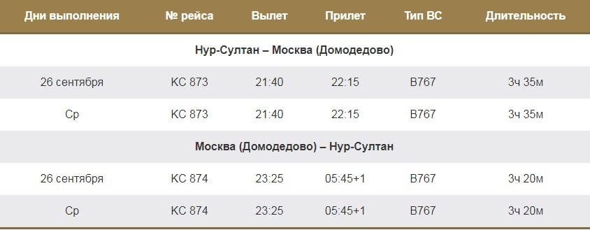 Рейс Нур-Султан-Москва