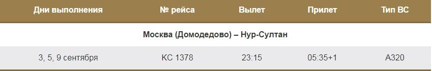 Рейсы из Москвы в Нур-Султан